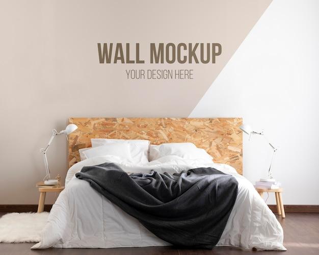 Maqueta de pared en arreglo de dormitorio.