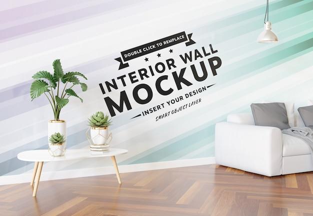 Maqueta de pared en blanco en la sala de estar
