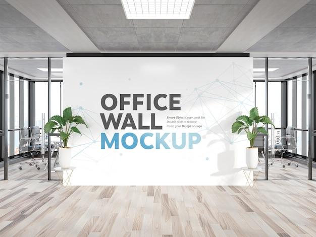 Maqueta de pared de cartelera en oficina de madera brillante