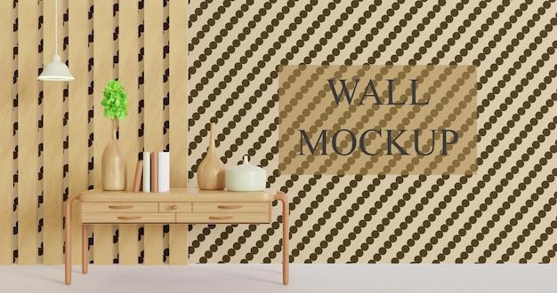 Maqueta de pared con decoración minimalista de mesa de madera.