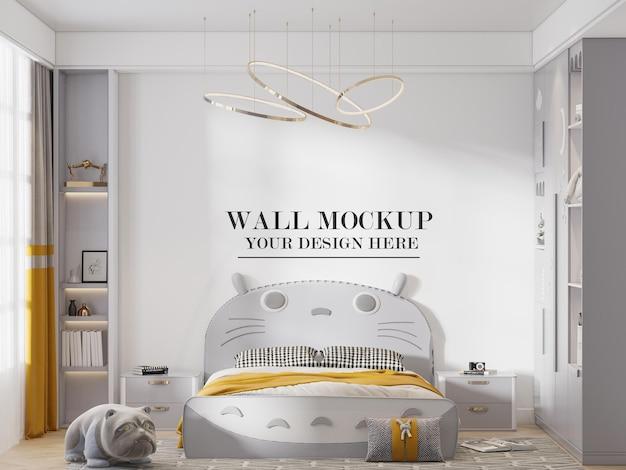 Maqueta de pared detrás de la cama con cabecera de gato