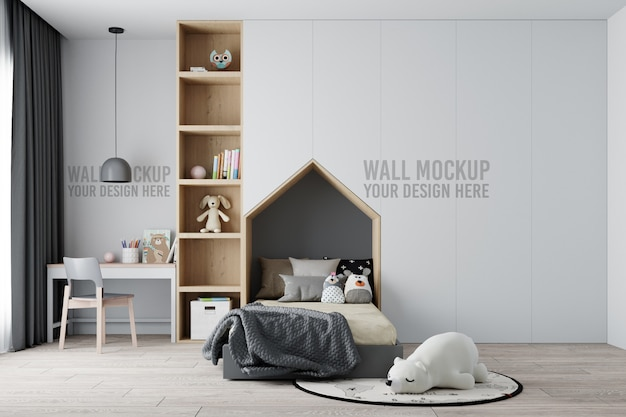 Maqueta de pared de dormitorio infantil interior