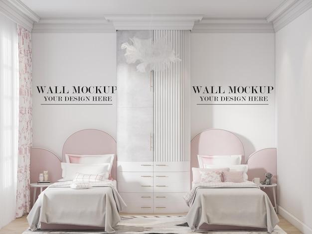 Maqueta de pared de dormitorio de niñas gemelas jóvenes