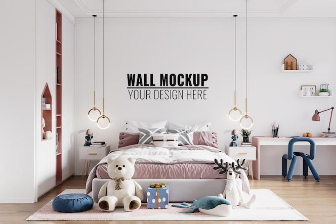 Maqueta de pared de dormitorio de niños interior moderno