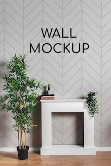 Maqueta de pared con escritorio cuadrado