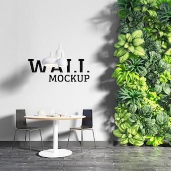 Maqueta de pared: espacio de comedor verde y fresco