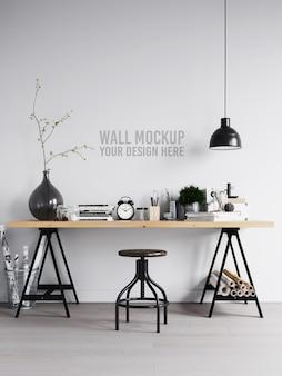 Maqueta de pared de espacio de trabajo interior