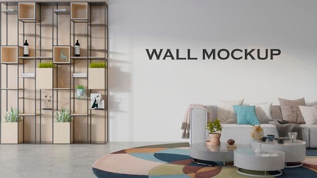 Maqueta de pared de fondo de muro de hormigón blanco vacío