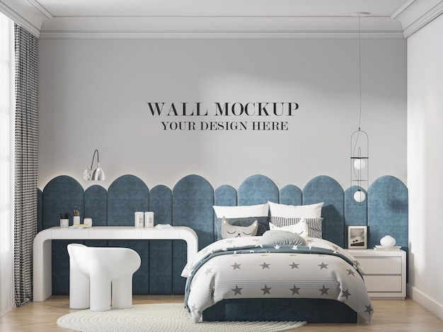 Maqueta de la pared de la habitación del adolescente con un diseño interior genial