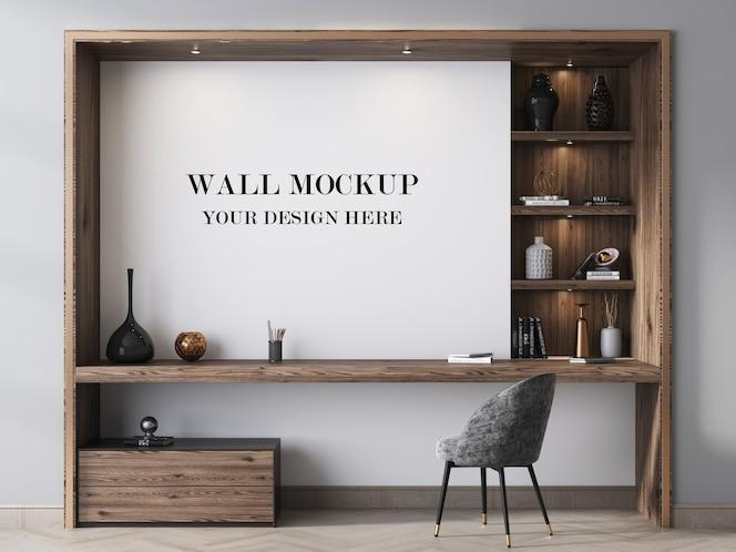 Maqueta de pared de habitación decorada con unidad de pared moderna