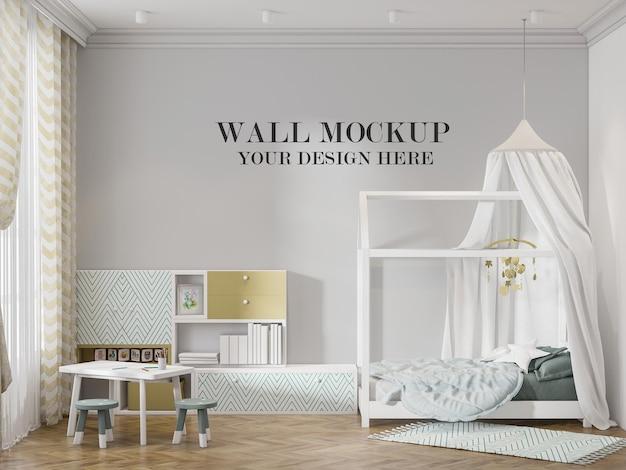 Maqueta de pared habitación infantil en el interior con cama de carpa blanca