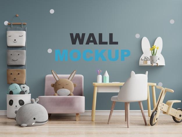 Maqueta de pared en la habitación de los niños en una pared oscura. representación 3d