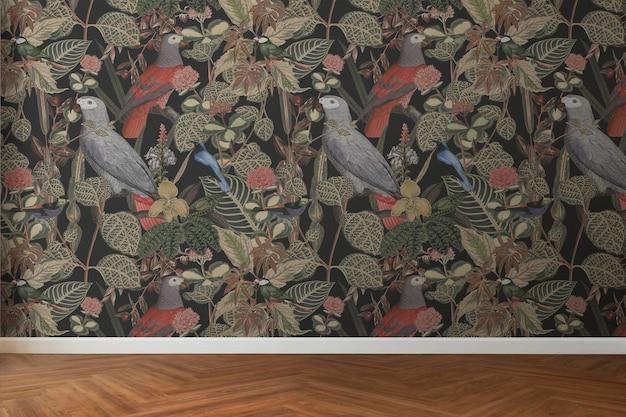 Maqueta de pared de habitación vacía psd diseño de interiores tropical