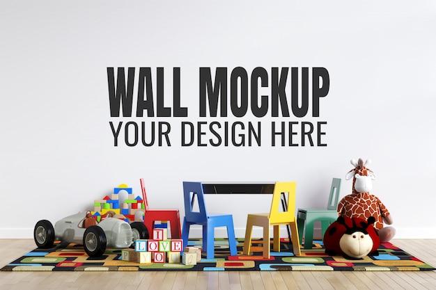 Maqueta de pared interior para sala de juegos para niños con decoraciones de juguetes