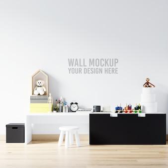 Maqueta de pared interior sala de juegos para niños con decoraciones