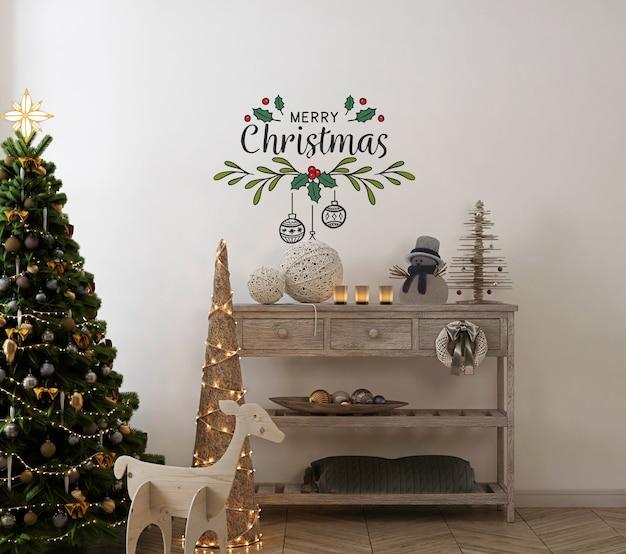 Maqueta de pared en interior vintage con árbol de navidad y decoración