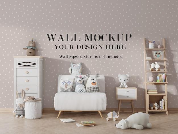 Maqueta de pared de jardín de infantes con accesorios.