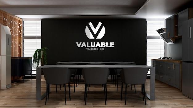 Maqueta de pared con logo 3d en la sala de cocina de la oficina