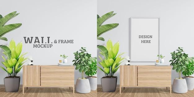 Maqueta de pared y marco. espacio con armarios decorativos y arboles