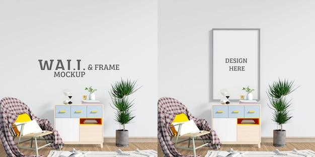 Maqueta de pared y marco. espacio para sentarse y relajarse y leer