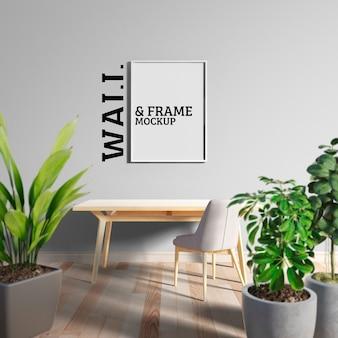 Maqueta de pared y marco: espacio de trabajo fresco