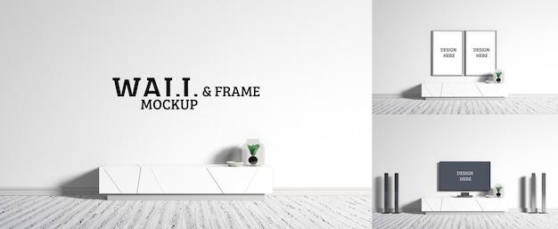 Maqueta de pared y marco: la habitación tiene un estilo minimalista