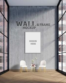 Maqueta de pared y marco: la habitación tiene una gran pared de cemento