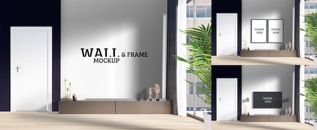 Maqueta de pared y marco: la sala de estar moderna tiene un gabinete de tv simple