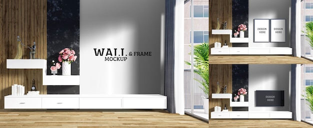 Maqueta de pared y marco: la sala de estar tiene un mueble de televisión blanco