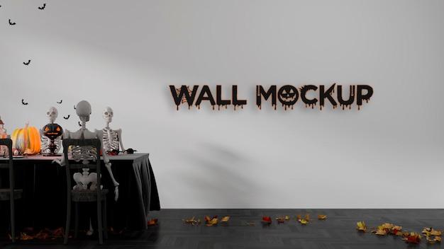 Maqueta de pared de mesa de halloween premium psd