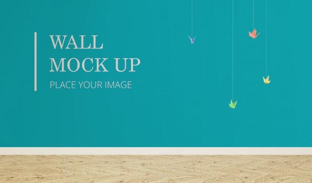 Maqueta de pared con papel de pájaro colgante