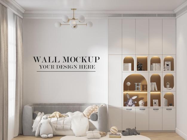Maqueta de pared en sala de estar apta para niños
