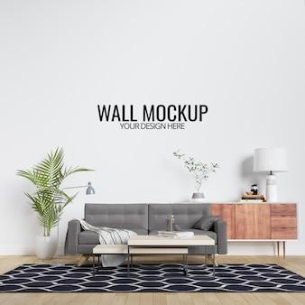 Maqueta de pared de sala de estar interior moderna con muebles y decoración