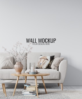 Maqueta de pared de sala de estar interior moderna