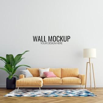Maqueta de pared de sala de estar interior con muebles y decoración