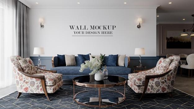 Maqueta de pared de sala de estar de lujo