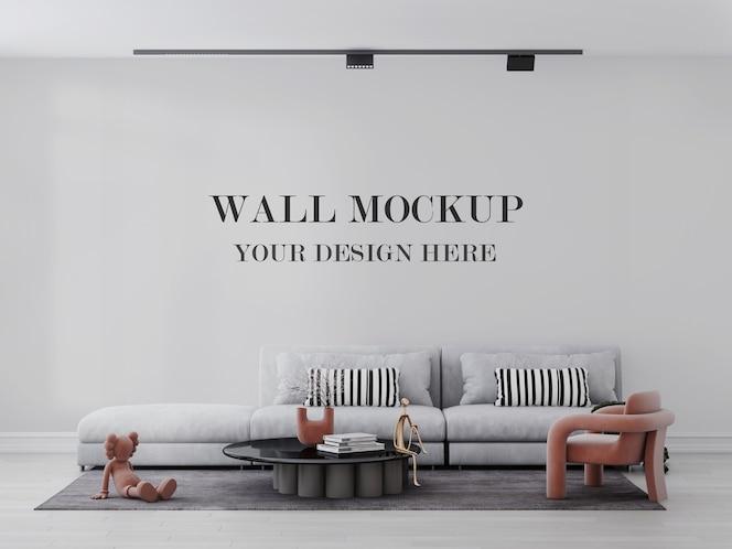 Maqueta de pared de sala de estar luminosa y relajante