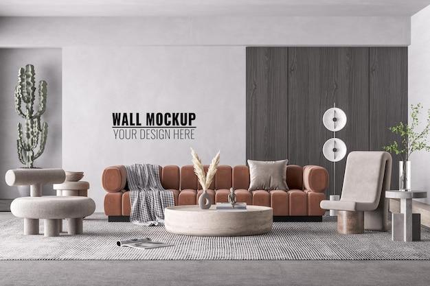 Maqueta de pared de sala de estar moderna interior