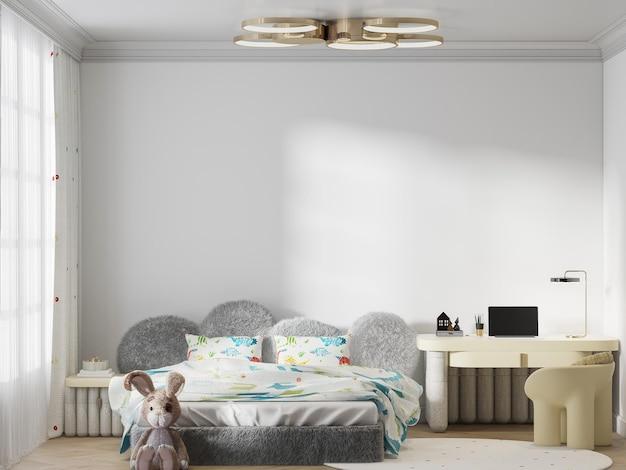 Maqueta de pared vacía detrás de la cabecera peluda de la cama infantil