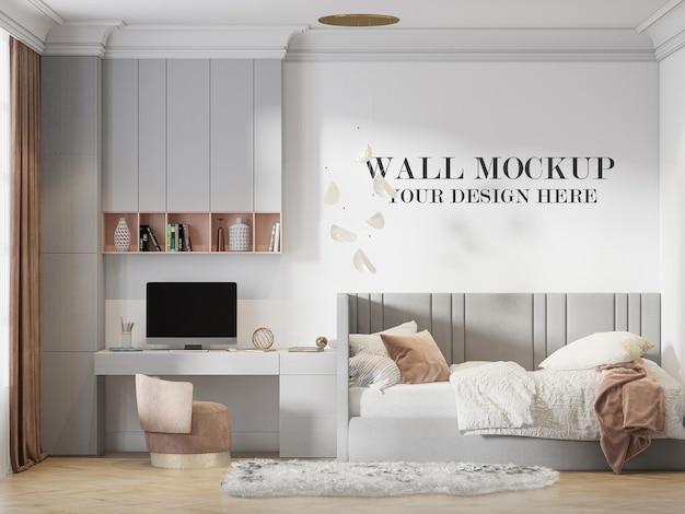 Maqueta de pared de vista frontal de renderizado 3d en habitación infantil