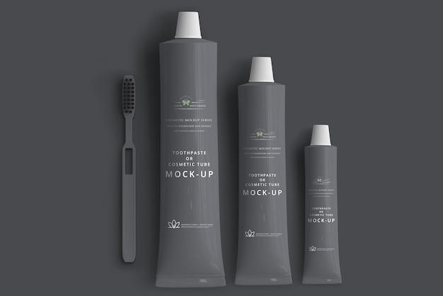 Maqueta de pasta de dientes o tubo cosmético