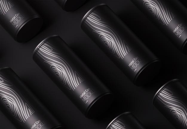 Maqueta de patrón de empaque de lata de metal negro
