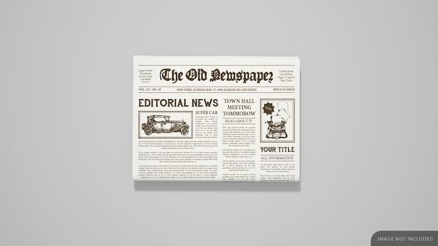 Maqueta de periódico doblado