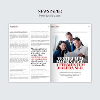 Maqueta de periódico de doble página interior
