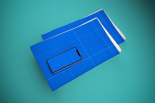 Maqueta de periódico y móvil