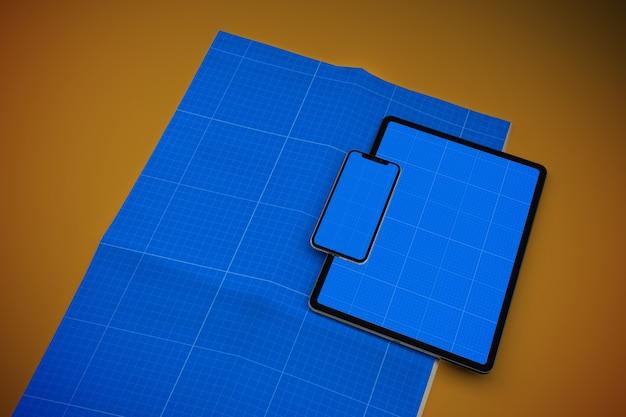 Maqueta de periódico, teléfono inteligente y tableta