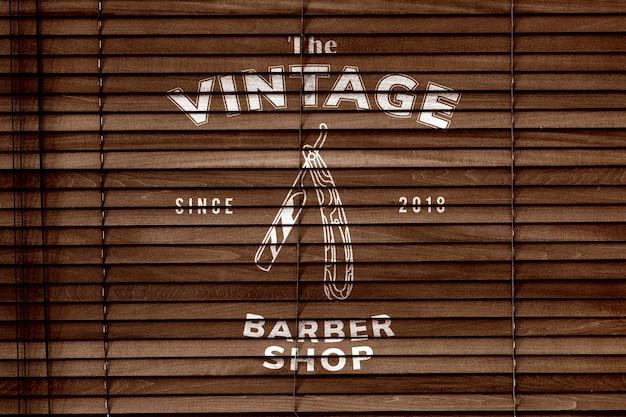 Maqueta de persianas de madera psd en estilo vintage