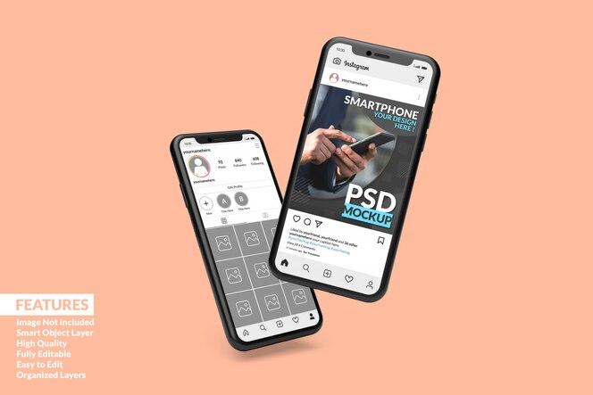 Maqueta personalizable de dos teléfonos inteligentes de alta calidad para mostrar la plantilla de publicación de instagram premium