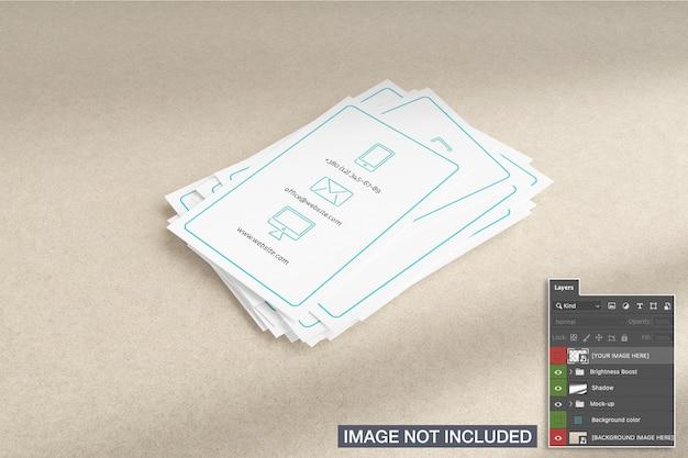 Maqueta de pilas de tarjetas de visita