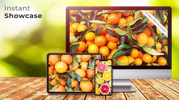 La maqueta de pixel perfect apple para el iphone x, la tableta ipad y la pantalla imac en una mesa de madera rústica con un diseño de bokeh verde, natural y orgánico.